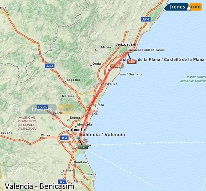 Enlarge map Trains Valencia to Benicasim