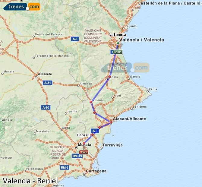 Enlarge map Trains Valencia to Beniel