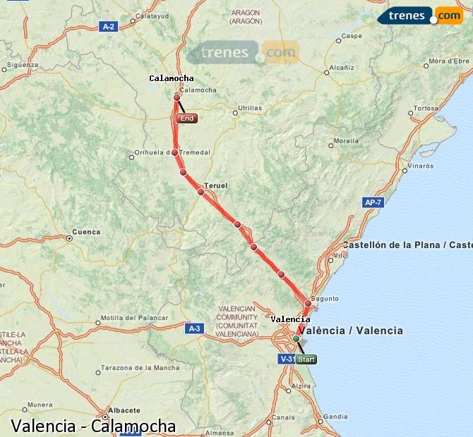 Enlarge map Trains Valencia to Calamocha