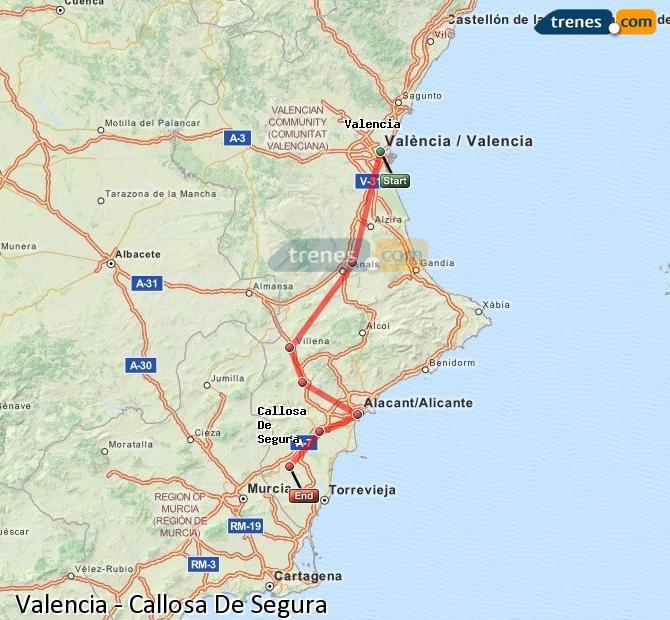 Ingrandisci la mappa Treni Valencia Callosa De Segura