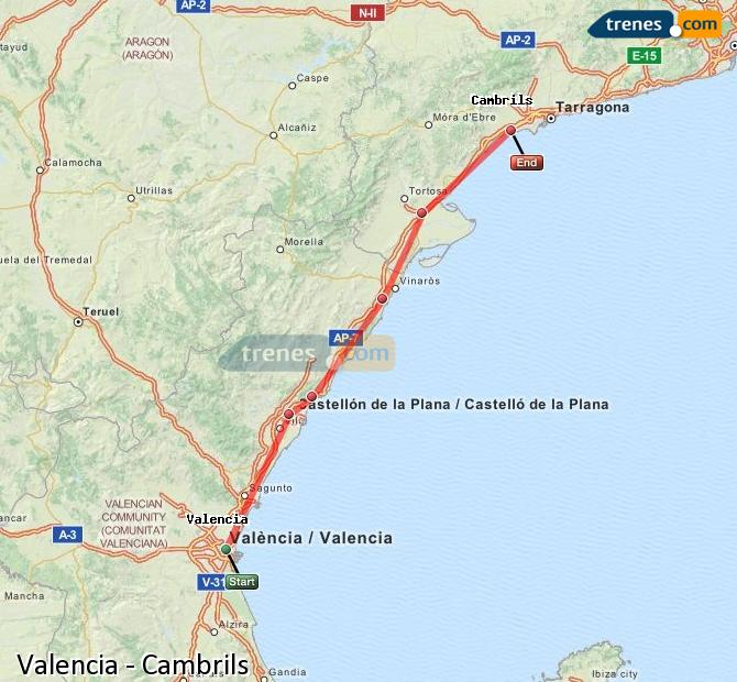 Enlarge map Trains Valencia to Cambrils