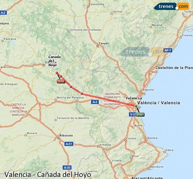 Agrandir la carte Trains Valence Cañada del Hoyo