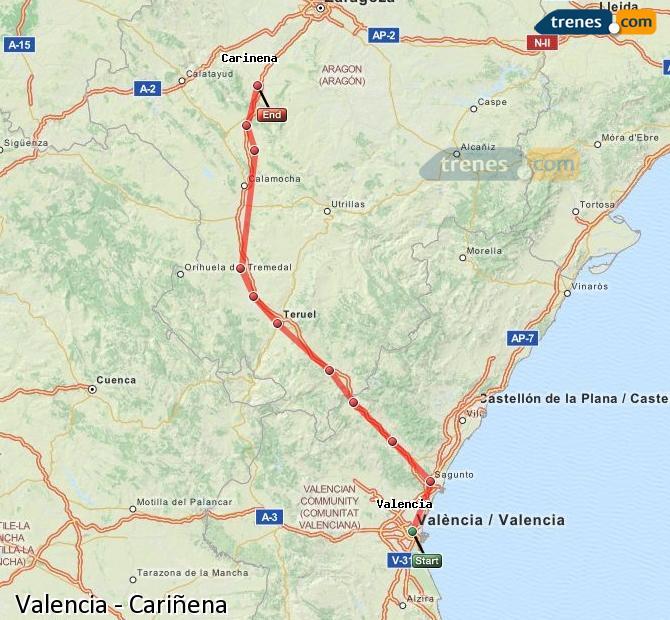 Enlarge map Trains Valencia to Cariñena