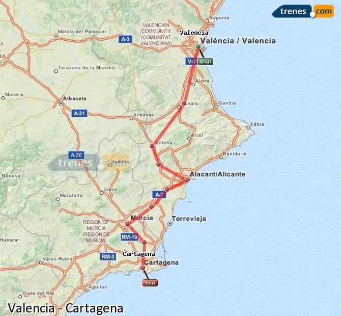 Enlarge map Trains Valencia to Cartagena