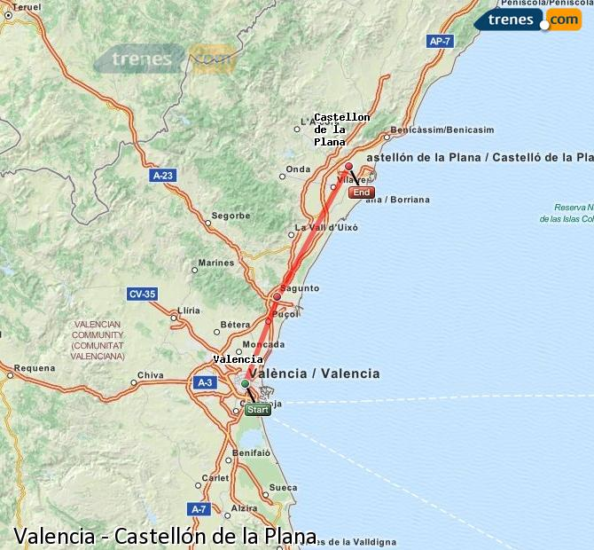 Enlarge map Trains Valencia to Castellón