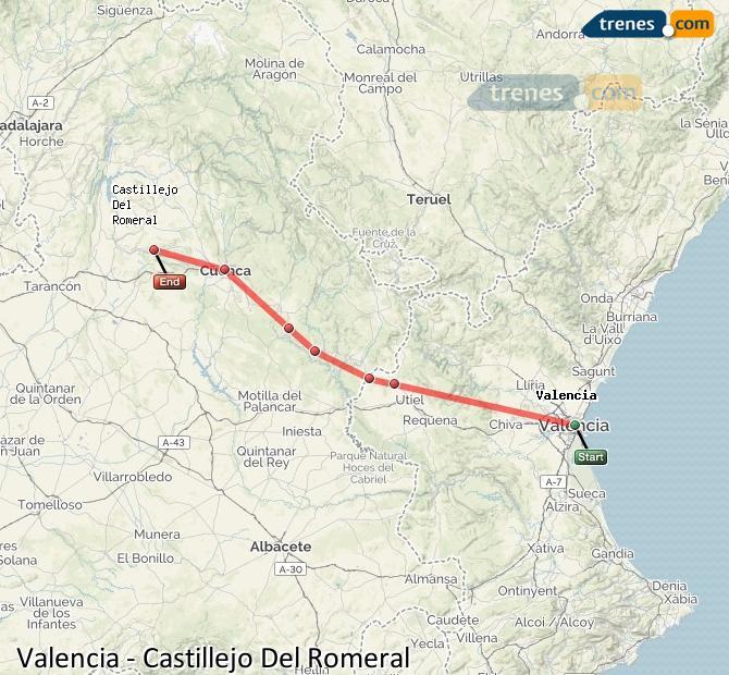 Agrandir la carte Trains Valence Castillejo Del Romeral