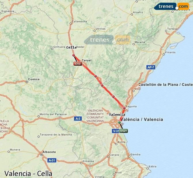 Enlarge map Trains Valencia to Cella