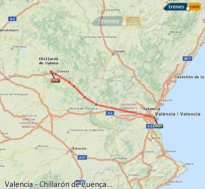Enlarge map Trains Valencia to Chillarón de Cuenca