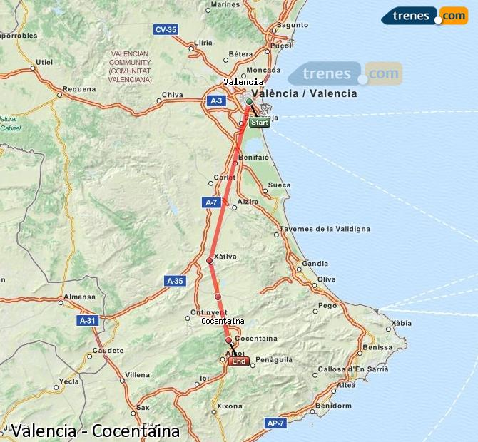 Enlarge map Trains Valencia to Cocentaina