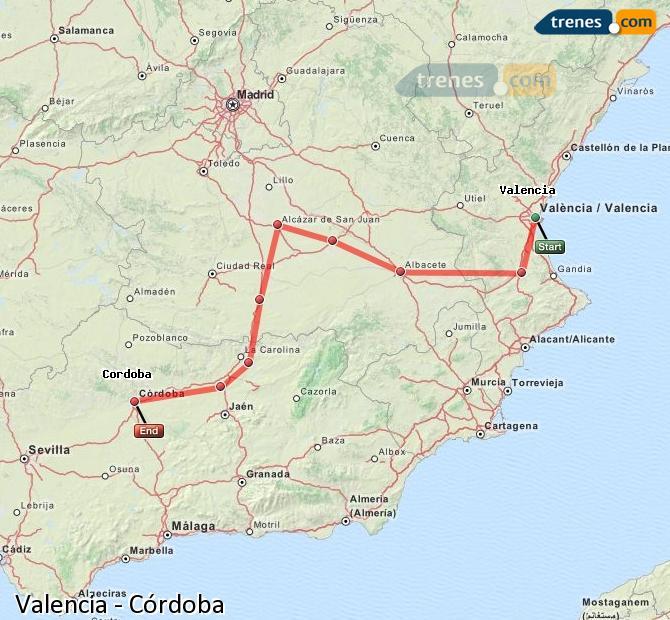 Karte vergrößern Züge Valencia Córdoba