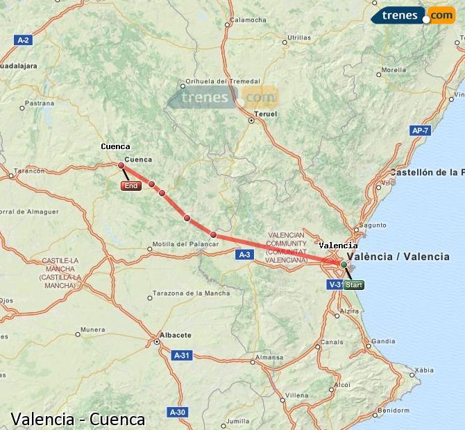 Agrandir la carte Trains Valence Cuenca
