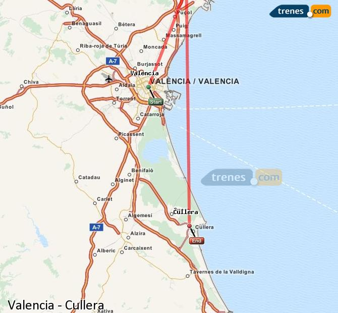 Enlarge map Trains Valencia to Cullera
