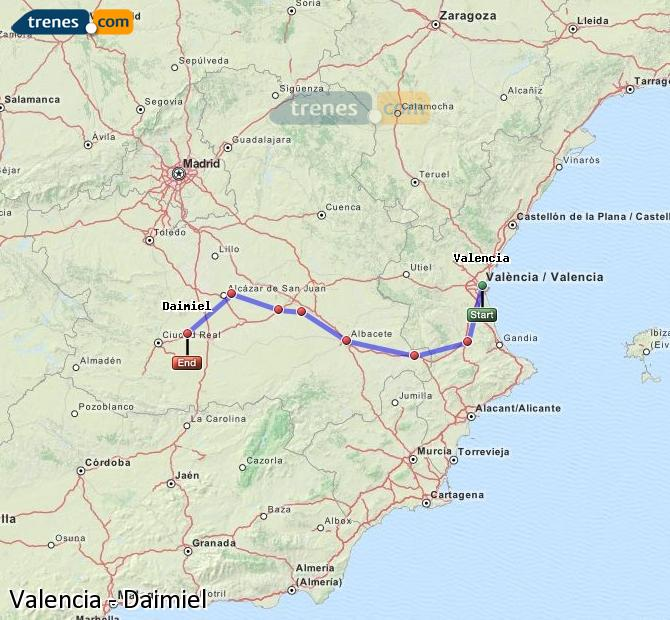 Enlarge map Trains Valencia to Daimiel
