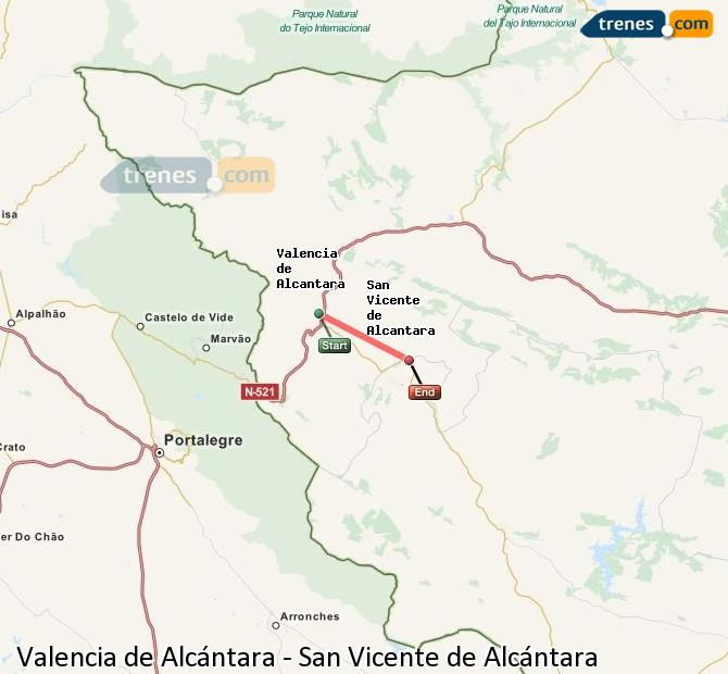 Cheap Valencia De Alcantara To San Vicente De Alcantara Trains