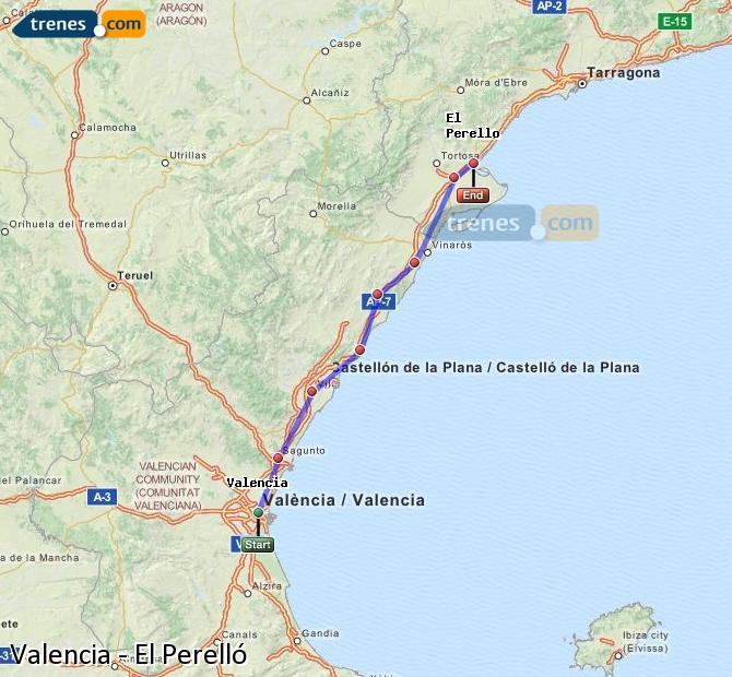 Ampliar mapa Trenes Valencia El Perelló