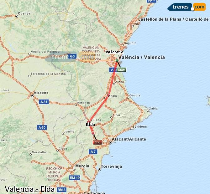 Enlarge map Trains Valencia to Elda