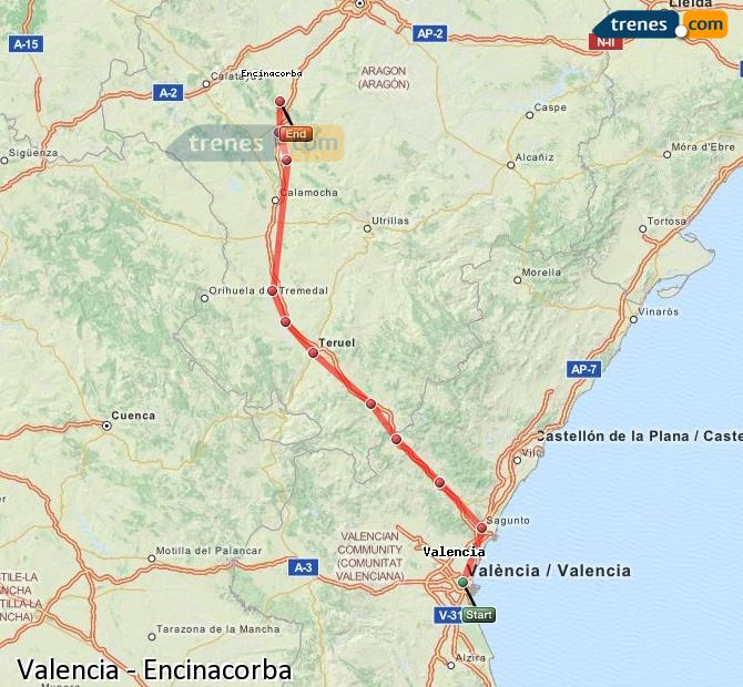 Enlarge map Trains Valencia to Encinacorba