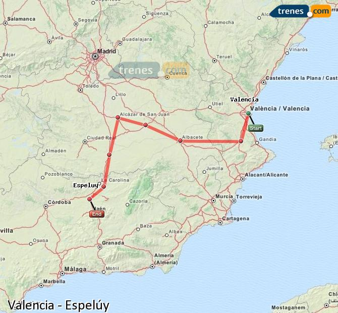 Enlarge map Trains Valencia to Espelúy