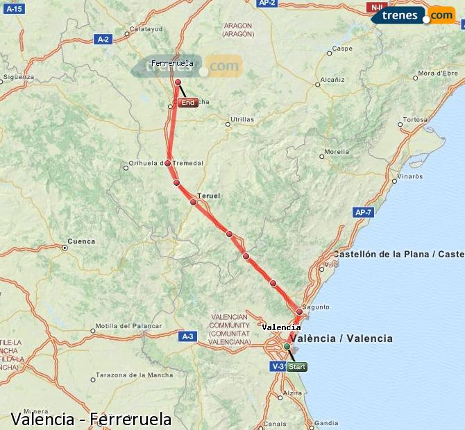 Enlarge map Trains Valencia to Ferreruela