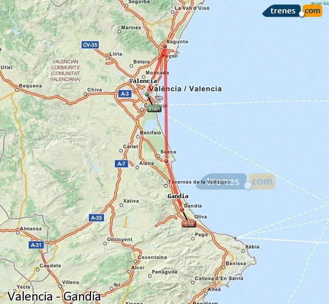 Enlarge map Trains Valencia to Gandía