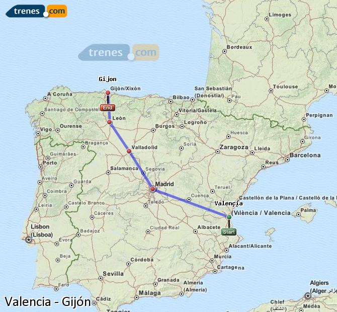 Enlarge map Trains Valencia to Gijón
