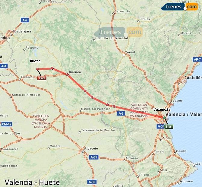 Karte vergrößern Züge Valencia Huete