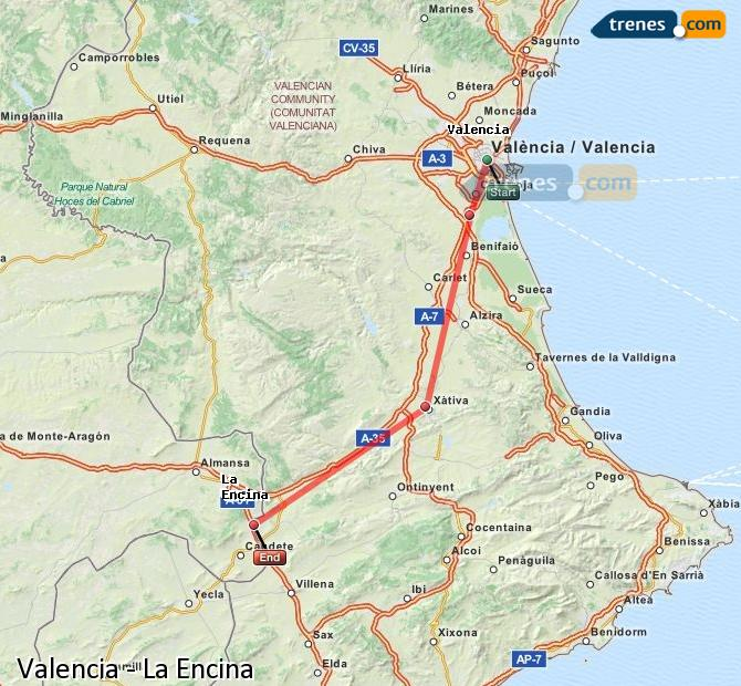 Enlarge map Trains Valencia to La Encina