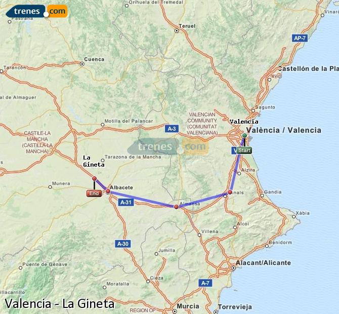 Enlarge map Trains Valencia to La Gineta