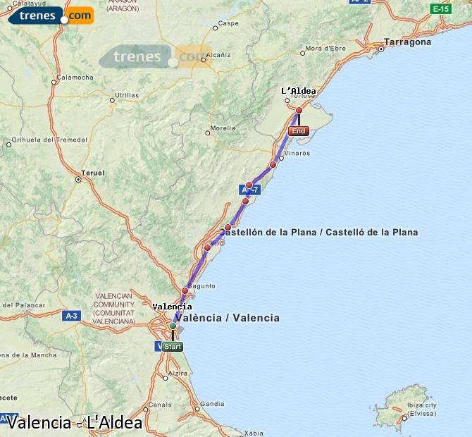 Agrandir la carte Trains Valence L'Aldea