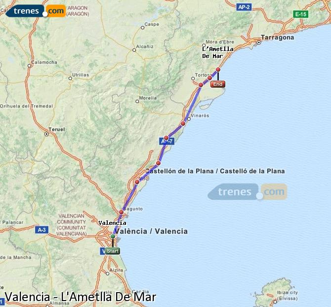 Enlarge map Trains Valencia to L'Ametlla De Mar
