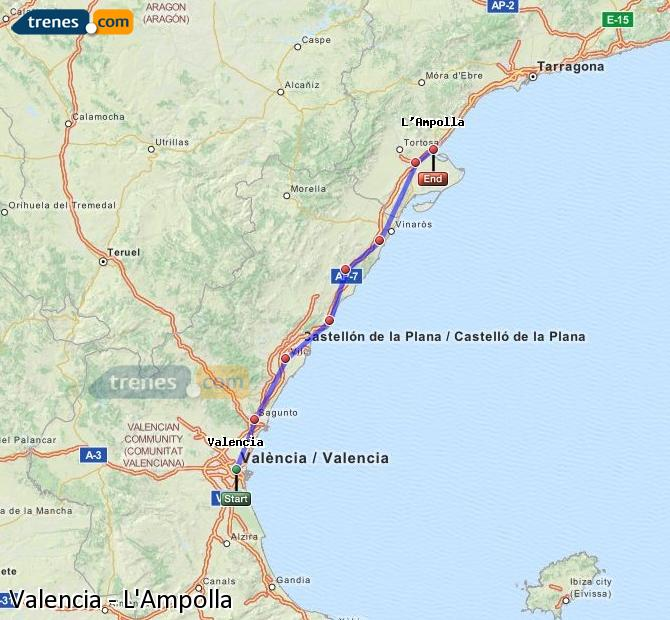 Enlarge map Trains Valencia to L'Ampolla