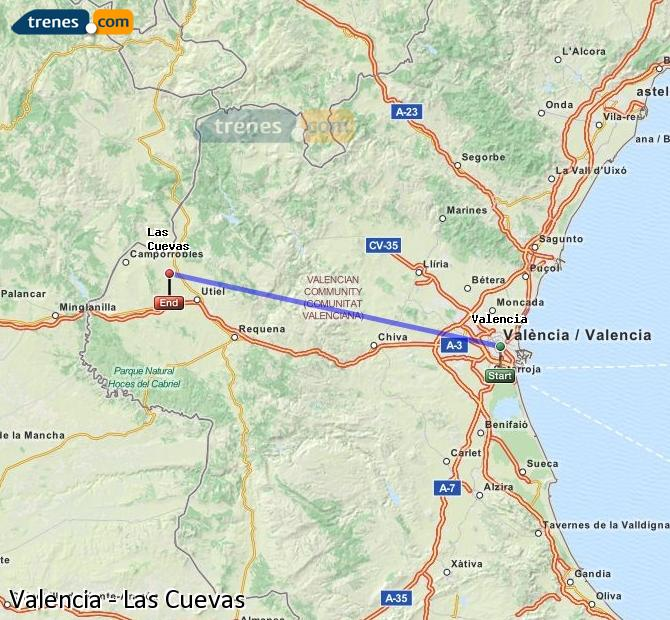 Enlarge map Trains Valencia to Las Cuevas