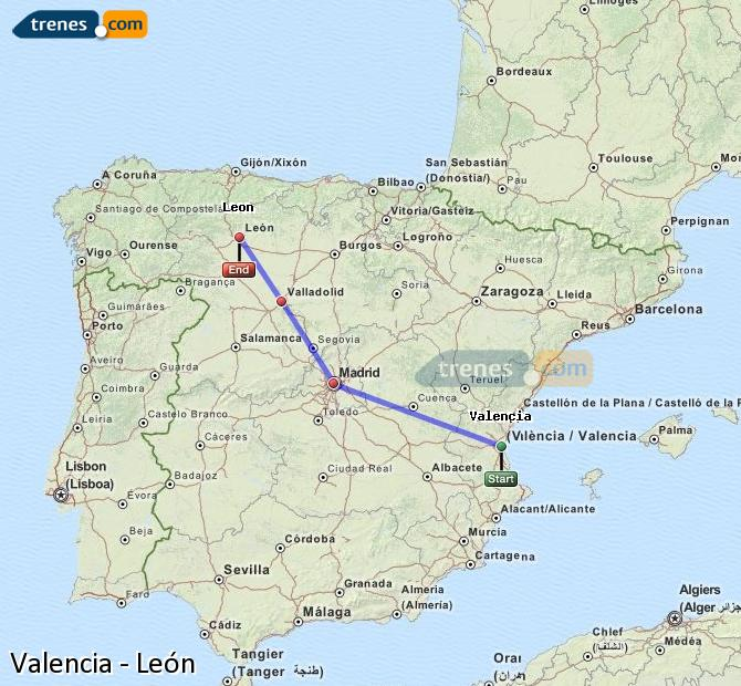 Enlarge map Trains Valencia to Lion