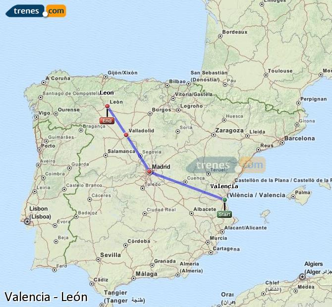 Ingrandisci la mappa Treni Valencia León