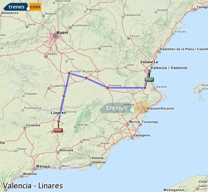 Enlarge map Trains Valencia to Linares