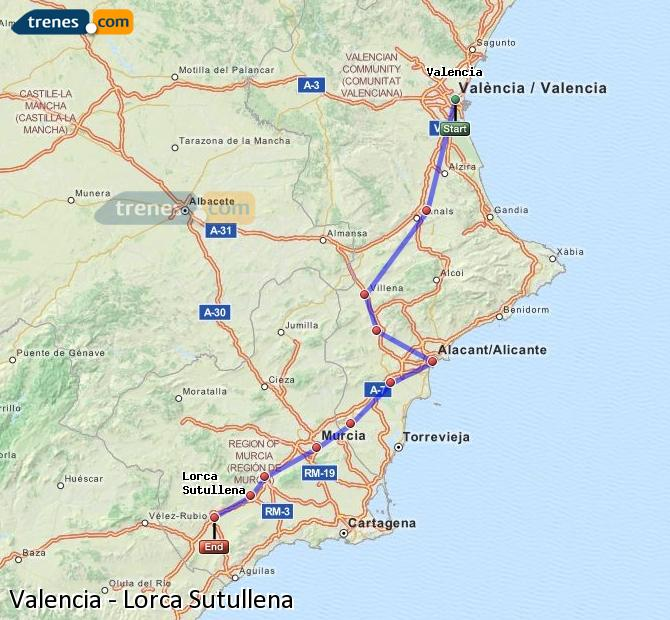 Enlarge map Trains Valencia to Lorca Sutullena