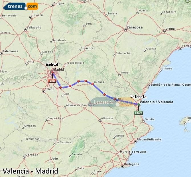 Enlarge map Trains Valencia to Madrid