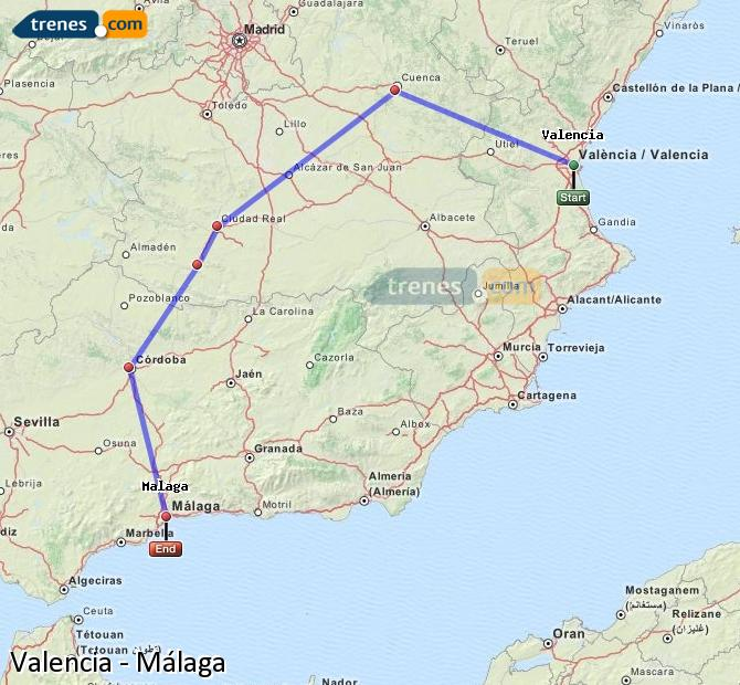 Enlarge map Trains Valencia to Malaga