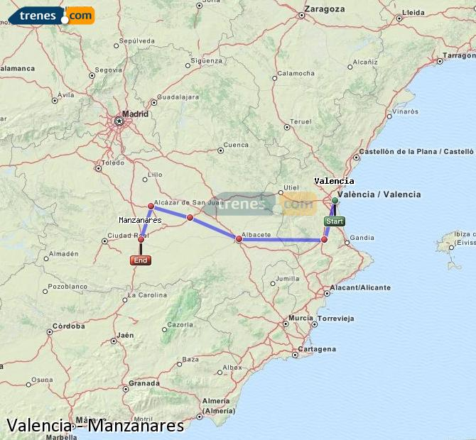 Enlarge map Trains Valencia to Manzanares
