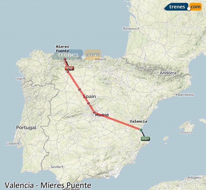 Ampliar mapa Trenes Valencia Mieres Puente