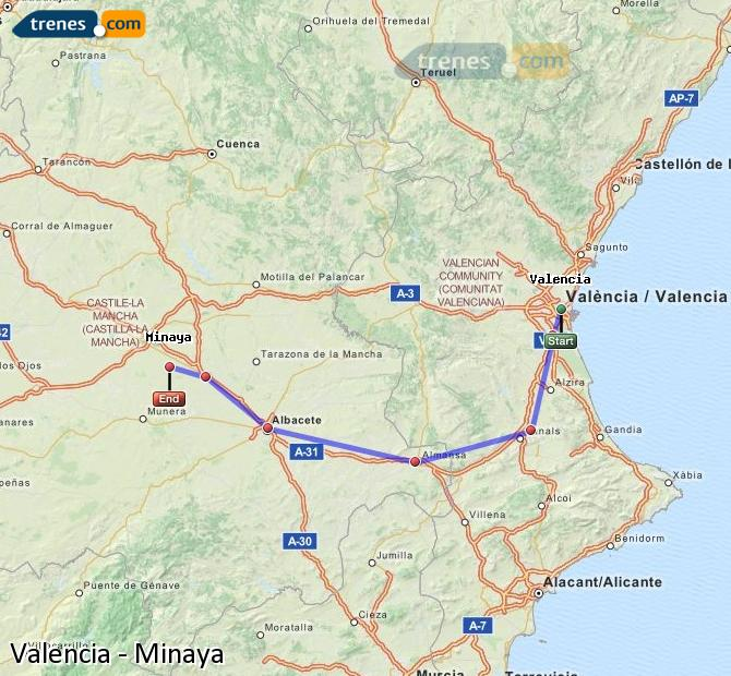 Enlarge map Trains Valencia to Minaya