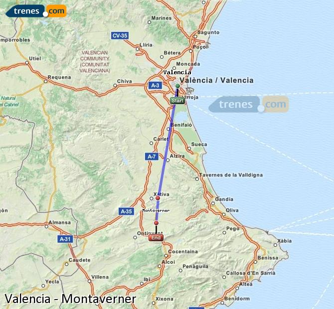 Ampliar mapa Trenes Valencia Montaverner