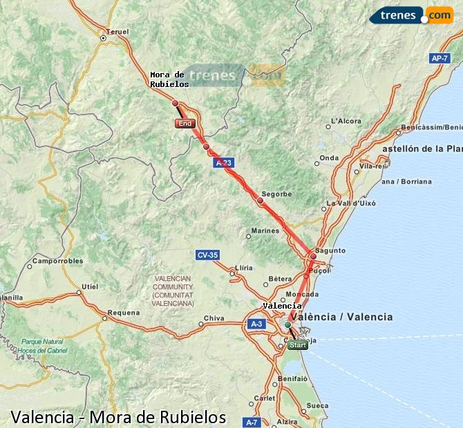 Enlarge map Trains Valencia to Mora de Rubielos