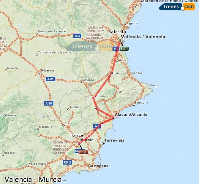 Enlarge map Trains Valencia to Murcia