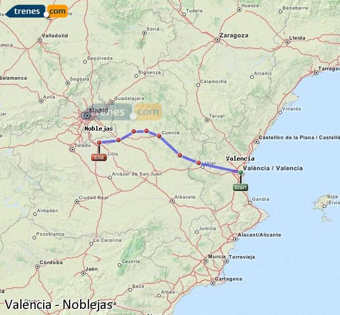 Enlarge map Trains Valencia to Noblejas