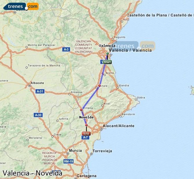 Enlarge map Trains Valencia to Novelda