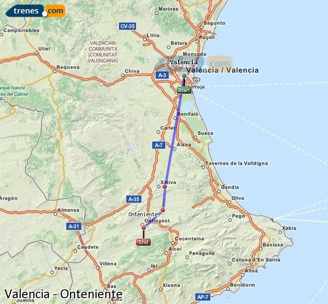 Enlarge map Trains Valencia to Onteniente