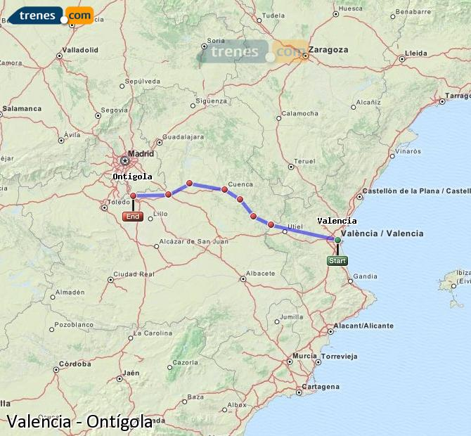 Enlarge map Trains Valencia to Ontígola