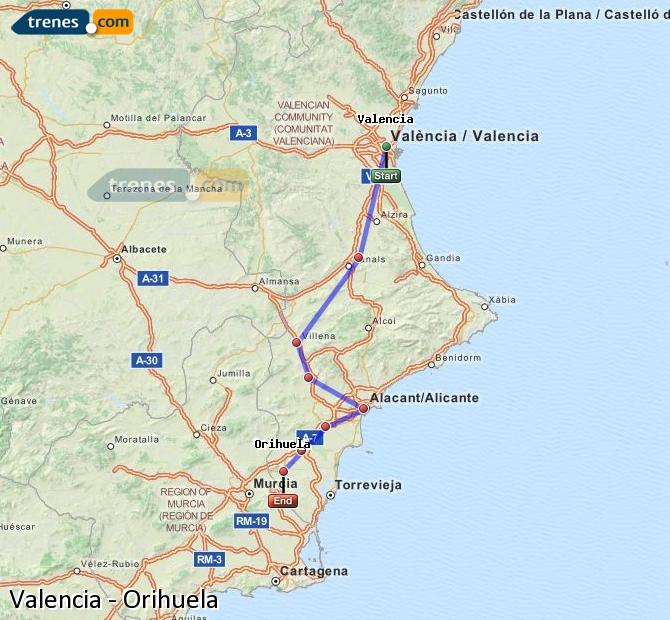 Enlarge map Trains Valencia to Orihuela