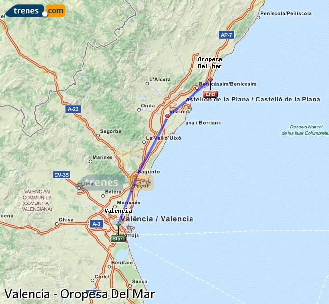 Enlarge map Trains Valencia to Oropesa Del Mar